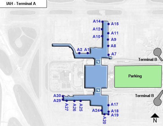 Houston Intercontinental Airport IAH Terminal A Map