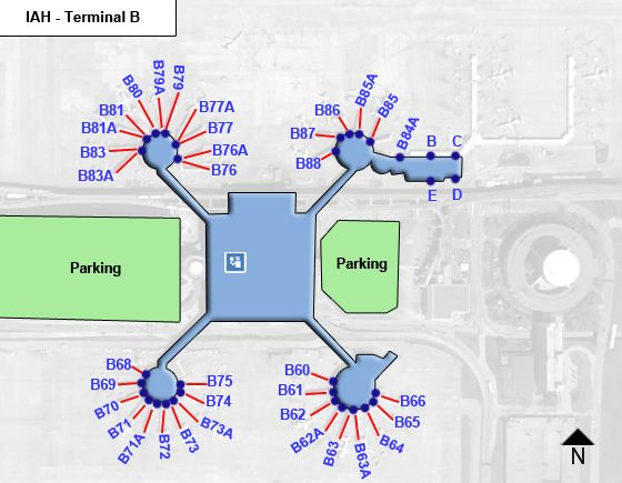 Houston Intercontinental Airport Iah Terminal B Map