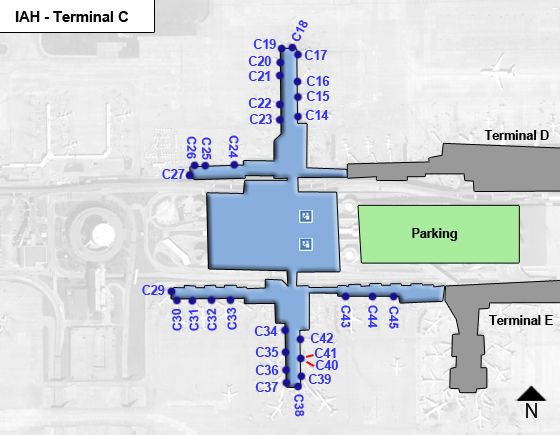 Houston Intercontinental Airport IAH Terminal C Map