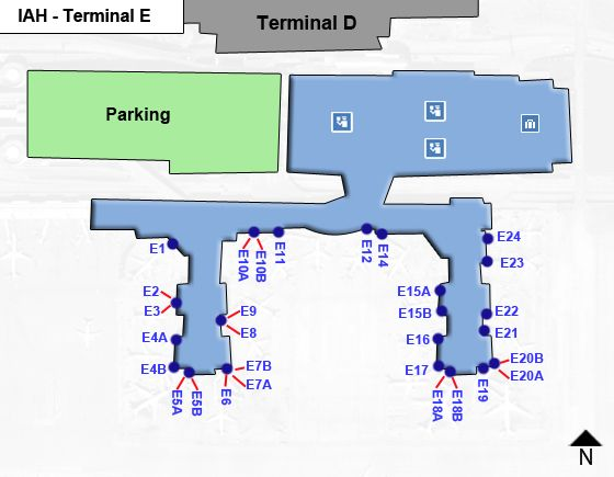 Houston Intercontinental IAH Terminal Map