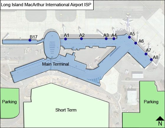 Long Island MacArthur ISP Terminal Map