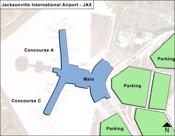 Jacksonville Airport Overview Map
