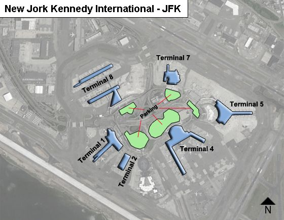 Map Of New York Showing Jfk Airport.New York Kennedy Jfk Airport Terminal Map