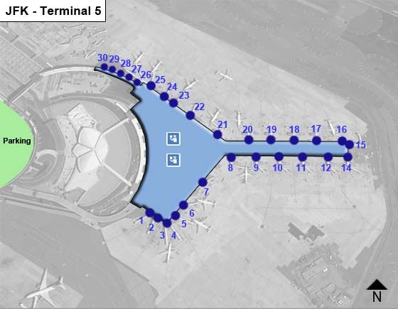 New York Airport Terminal 5 Map