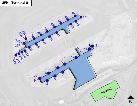New York Airport Terminal 8 Map