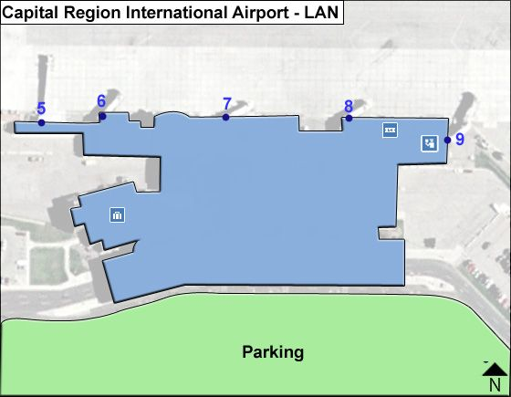 Lansing Airport Overview Map