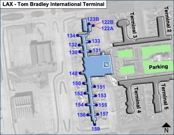 Los Angeles Airport LAX Bradley International Map