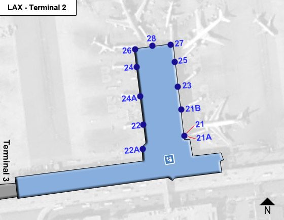 Los Angeles Airport Terminal 2 Map