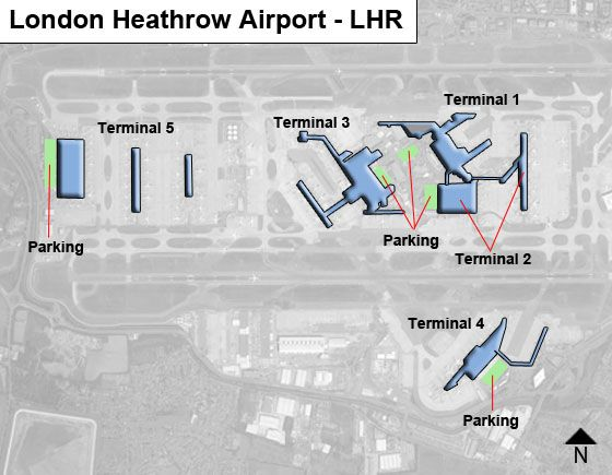 London Heathrow LHR Airport Terminal Map