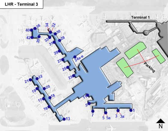 Harlington, Hayes, Middlesex Airport Terminal 3 Map