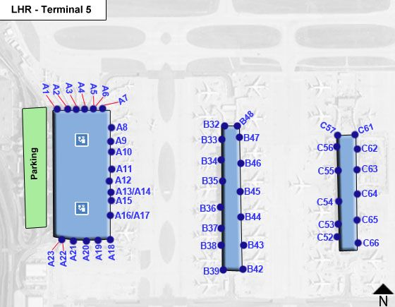 London Heathrow Airport LHR Terminal 5 Map