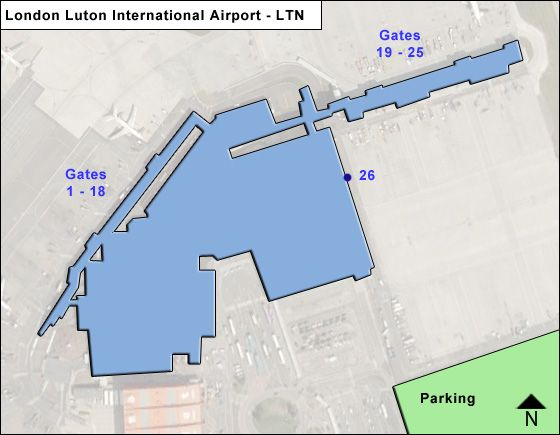 Luton, Bedfordshire Airport Overview Map