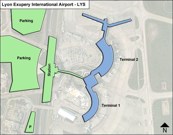 Lyon-Saint Exupery Aeroport Airport Overview Map