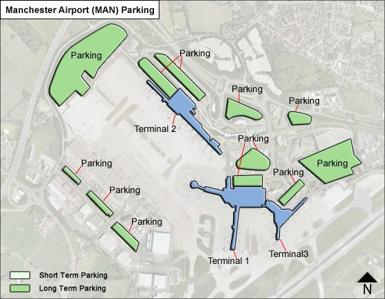 Manchester MAN airport parking map