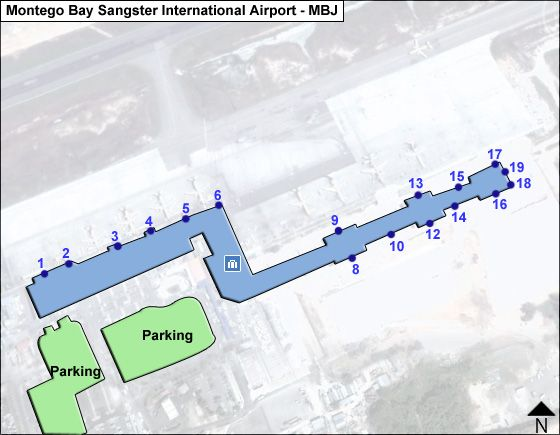Montego Bay, St. James Airport Overview Map