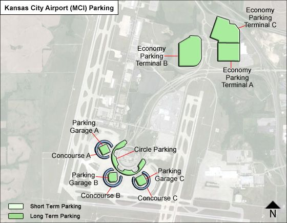 Kansas City MCI airport parking map