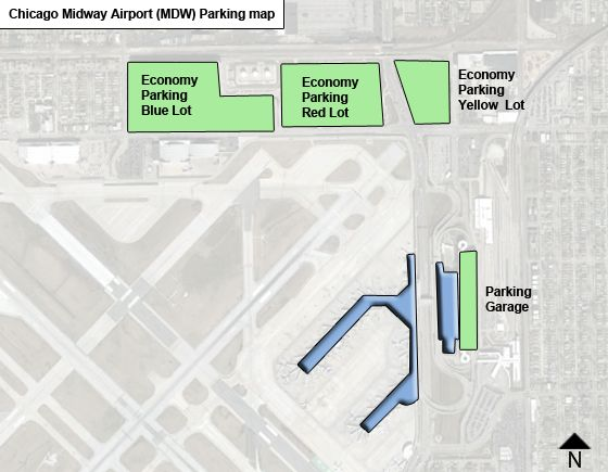 Chicago Midway MDW airport parking map