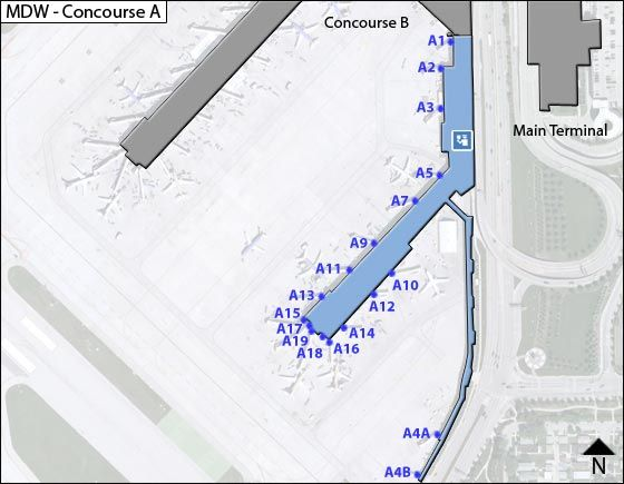 Chicago Airport Concourse A Map