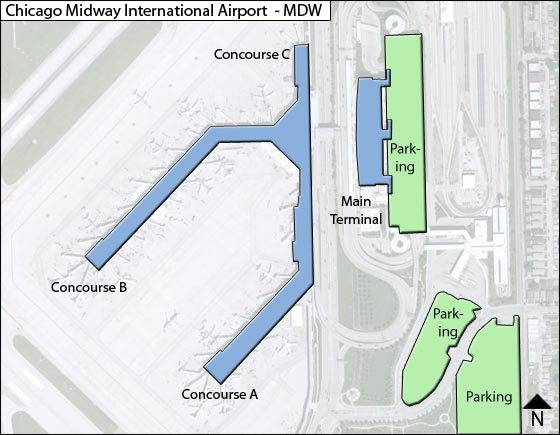 Chicago Midway Mdw Airport Terminal Map
