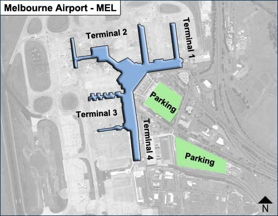 Melbourne Airport Parking Map Melbourne MEL Airport Terminal Map
