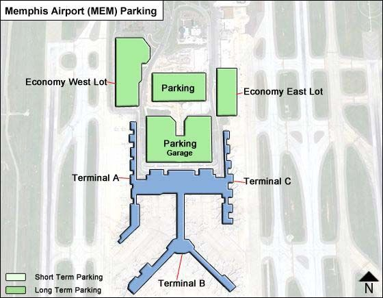 Memphis MEM airport parking map