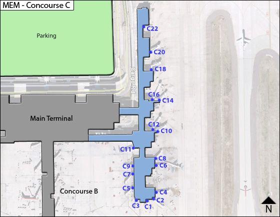 Memphis MEM Terminal Map