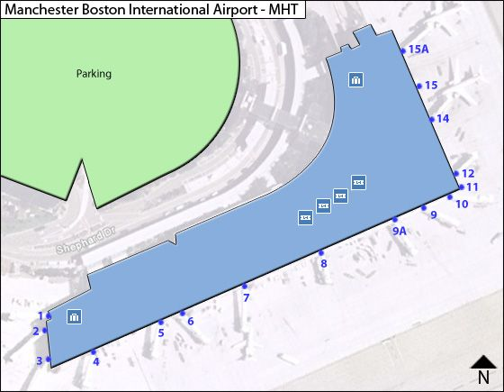 Manchester Boston Regional MHT Terminal Map