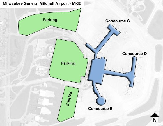 Milwaukee Airport Map Milwaukee General Mitchell MKE Airport Terminal Map Milwaukee Airport Map