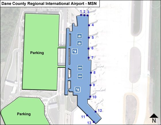 Madison Dane County MSN Airport Terminal Map on
