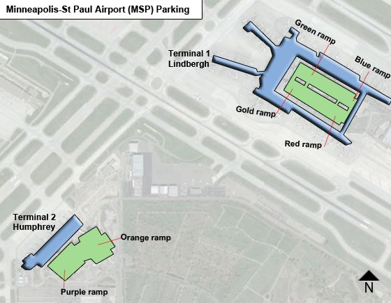 Minneapolis-St Paul MSP airport parking map