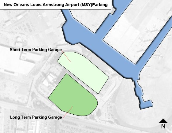 New Orleans Louis Armstrong MSY airport parking map