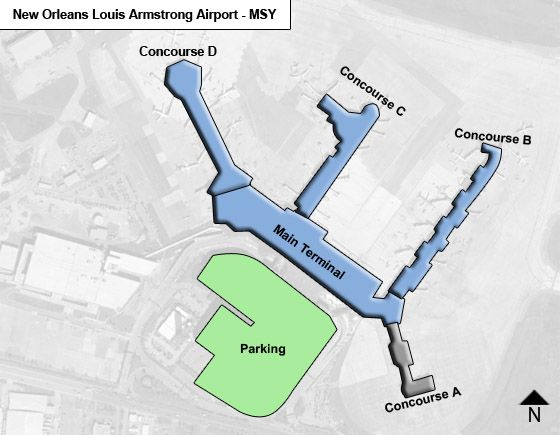 New Orleans Louis Armstrong Airport msy OverviewMap new orleans louis armstrong msy airport terminal map