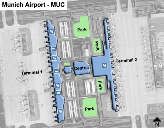 Munich Airport Map Munich MUC Airport Terminal Map Munich Airport Map