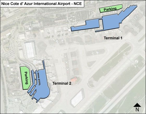 Nice, Alpes-Maritimes Dept.  Airport Overview Map
