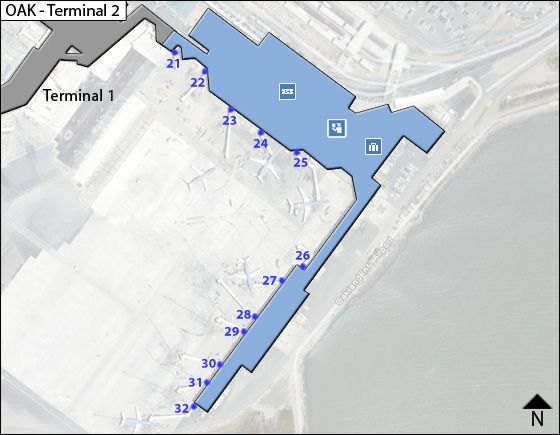 Oakland Airport Terminal 2 Map
