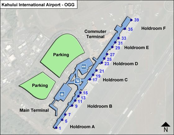Ogg Airport Map Maui Kahului OGG Airport Terminal Map