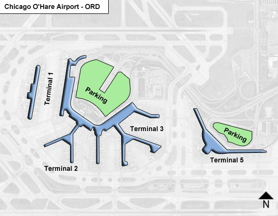 Chicago OHare ORD Airport Terminal Map on