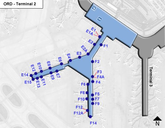 Chicago OHare Airport ORD Terminal 2 Map