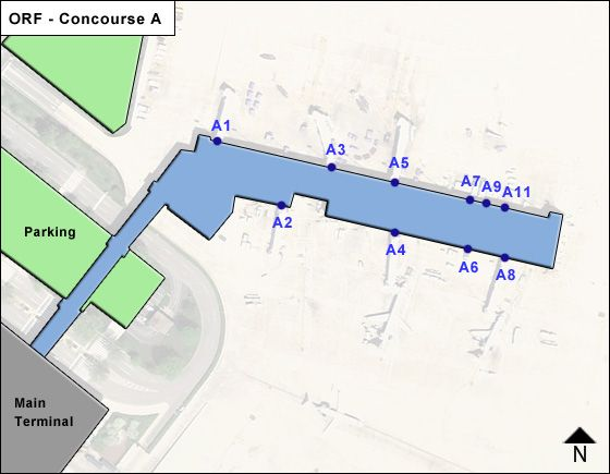 Norfolk Airport Concourse A Map