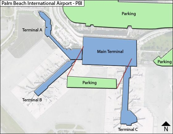 Palm Beach PBI Terminal Map