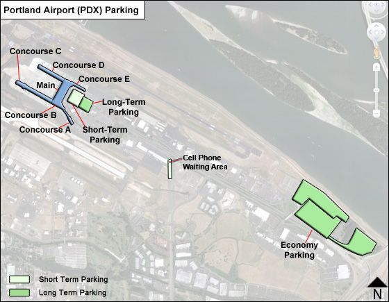Portland PDX airport parking map