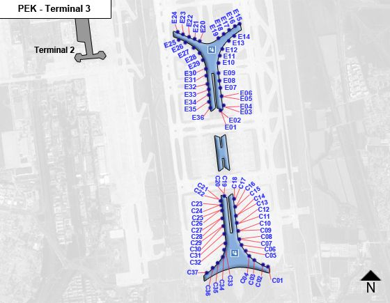 Beijing, Chaoyang District Airport Terminal 3 Map