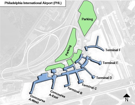 Philadelphia Airport Map Philadelphia PHL Airport Terminal Map Philadelphia Airport Map