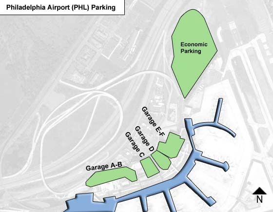 Philadelphia PHL airport parking map