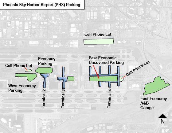 Phoenix Sky Harbor PHX airport parking map