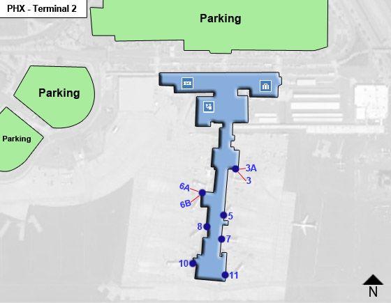 Phoenix Sky Harbor Airport PHX Terminal 2 Map