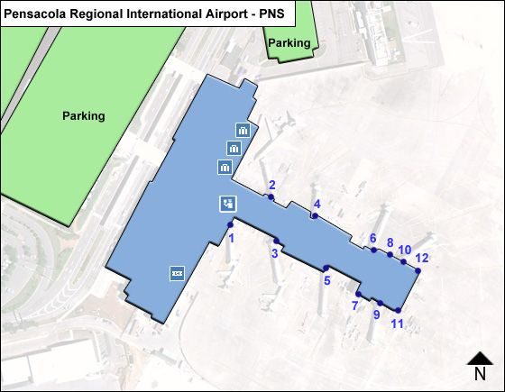Pensacola International PNS Terminal Map