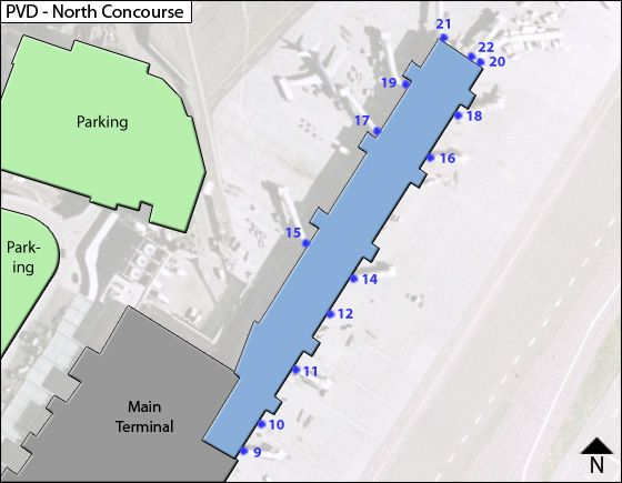 Warwick Airport North Concourses Map