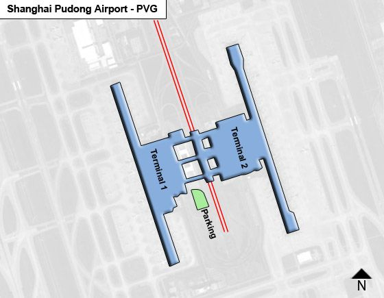 Shanghai, Pudong District Airport Overview Map