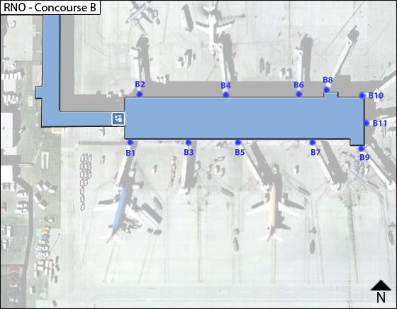 Reno Airport Concourse B Map